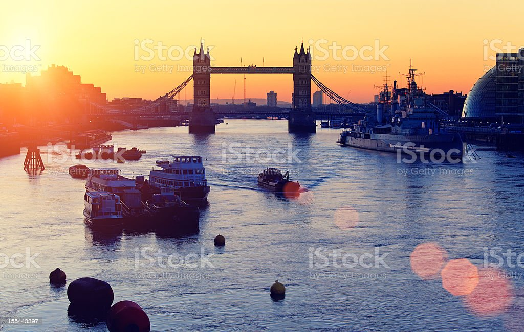 Tower Bridge over the Thames river at dawn royalty-free stock photo