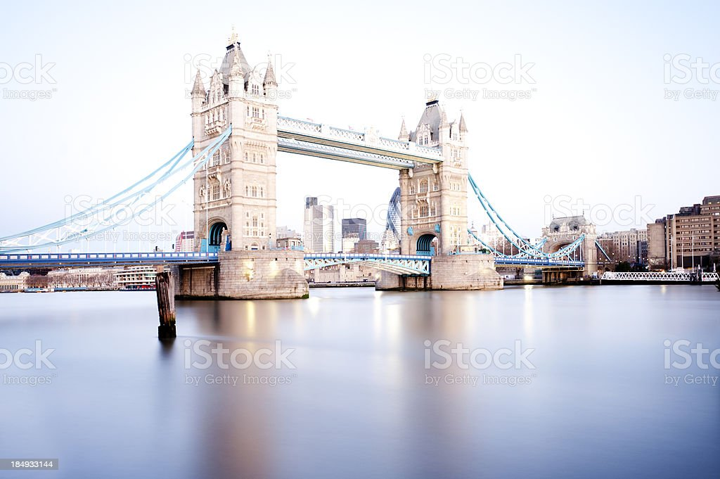 Tower Bridge over the Thames River in London, England.  royalty-free stock photo