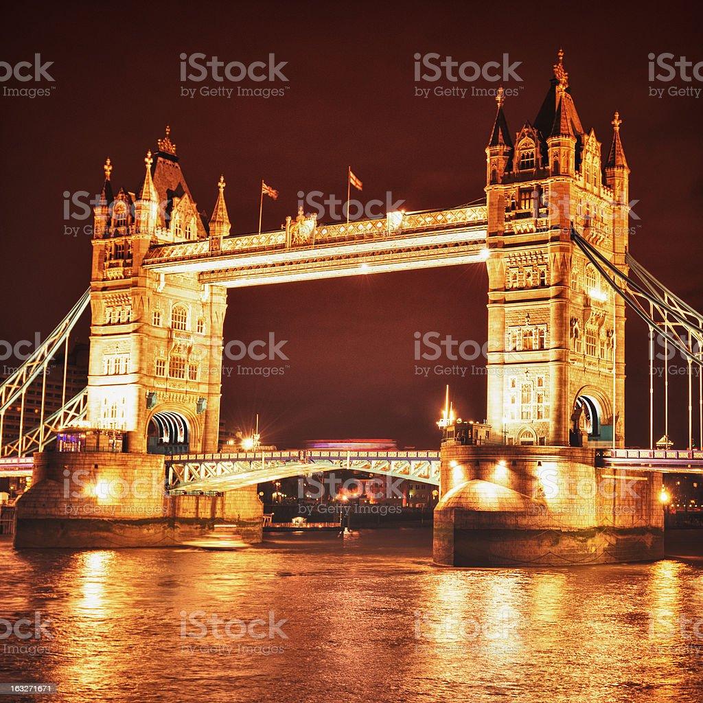 Tower Bridge panorama in the night royalty-free stock photo