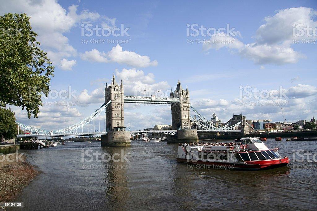 tower bridge river boat thames london uk royalty-free stock photo