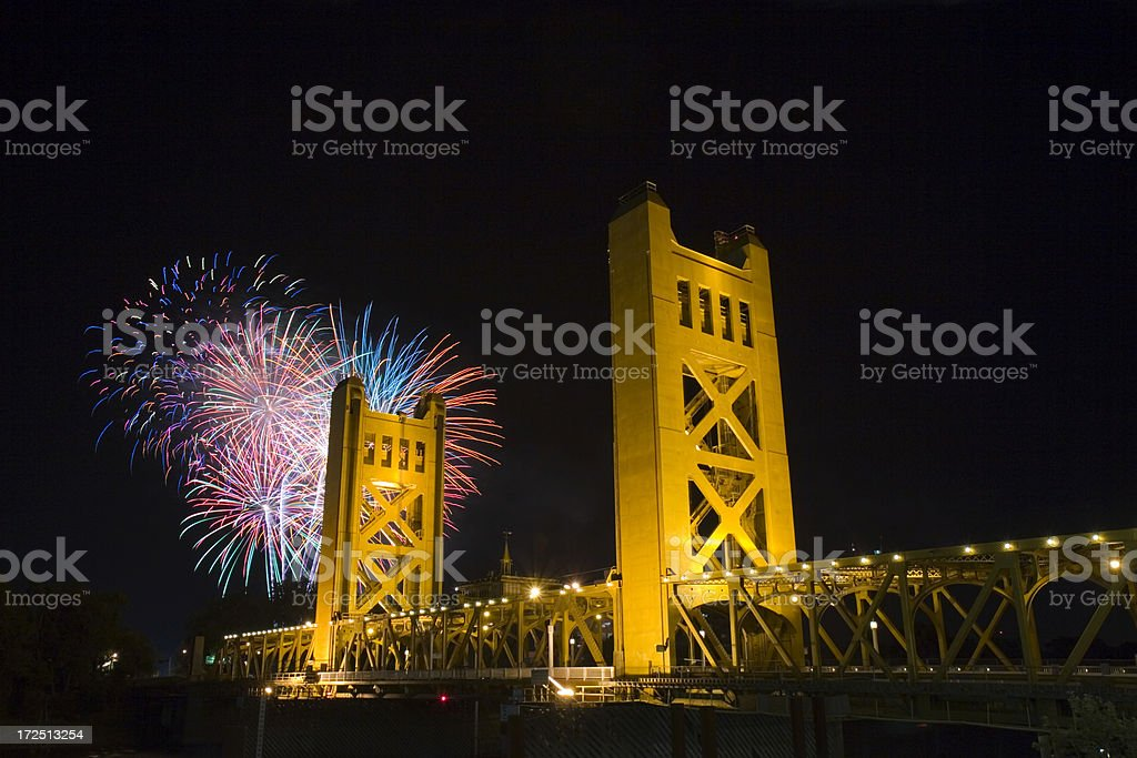 Tower Bridge, Sacramento, California royalty-free stock photo