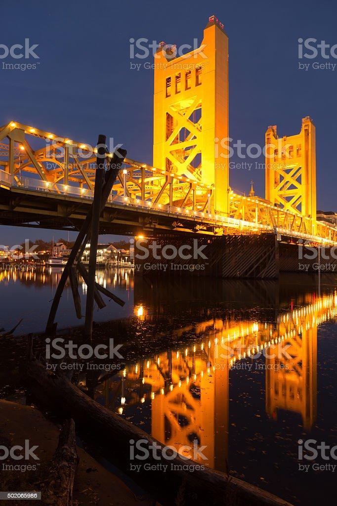 Tower Bridge Sacramento River Capital City California Downtown Skyline stock photo