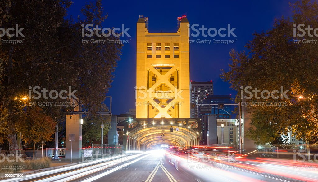 Tower Bridge Sacramento River Capital City California Downtown Skyline stock photo