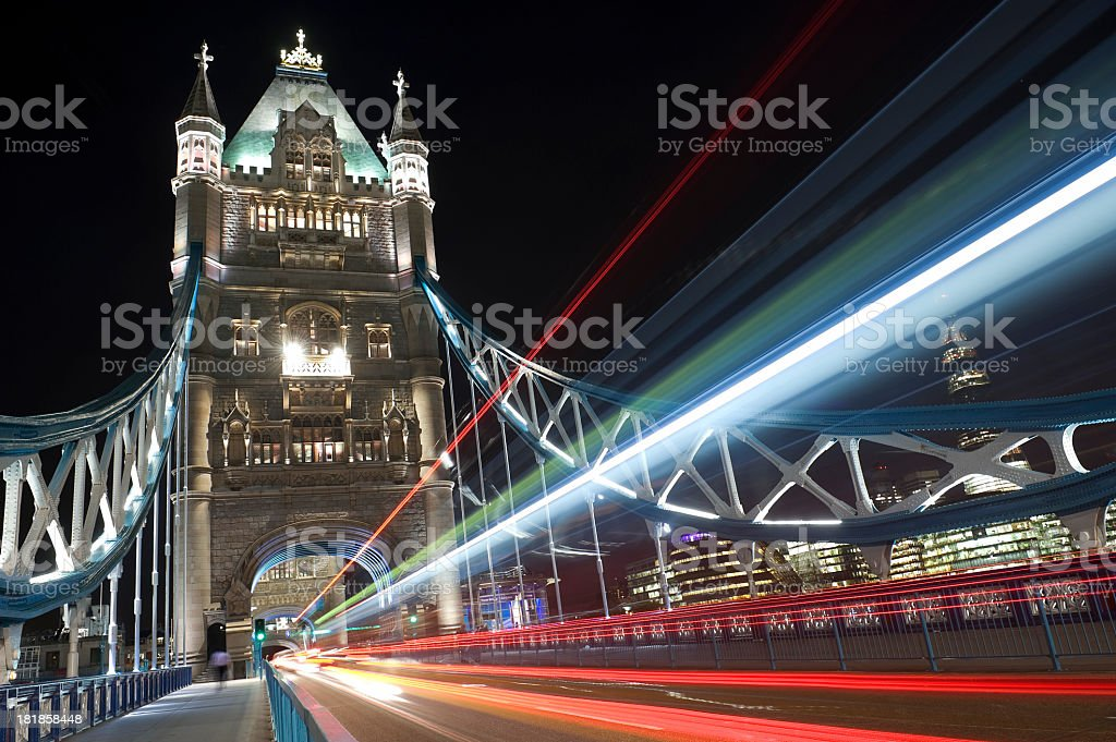 Tower Bridge street and City Hall at dusk in London, England stock photo