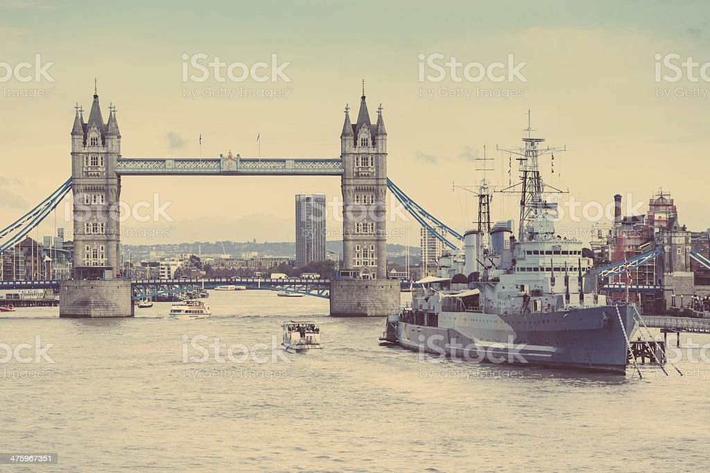 Tower Bridge, Thames river and HMS Belfast in London stock photo