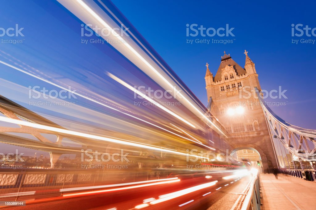 Tower Bridge with Blurred Traffic in London UK royalty-free stock photo