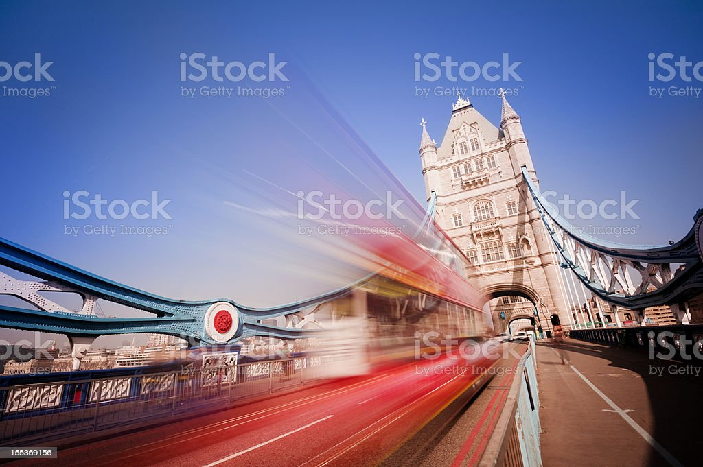 Tower Bridge with Blurred Traffic in London UK stock photo
