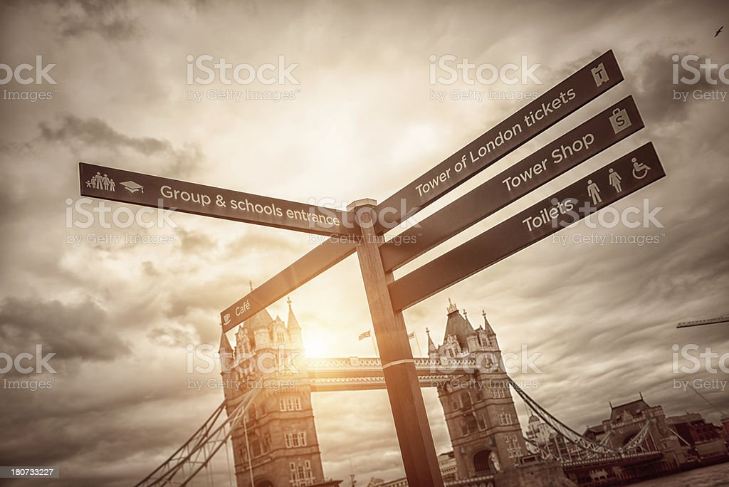 Tower Bridge with information sign royalty-free stock photo