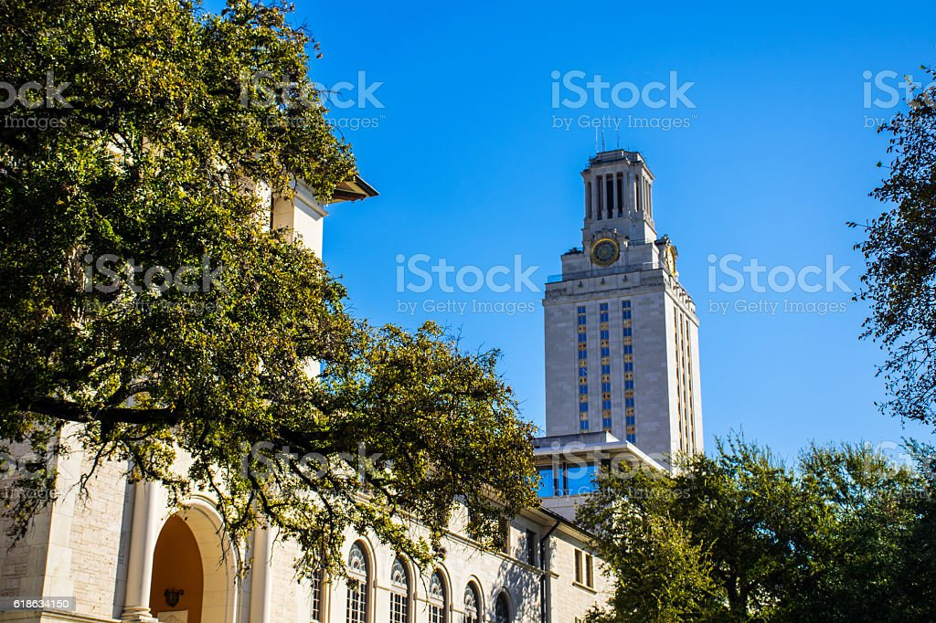 UT Tower Campus Courtyard Nice Morning Sunshine stock photo