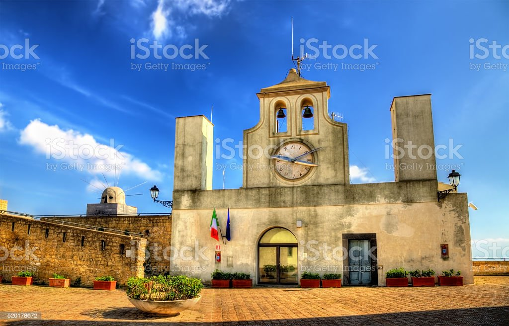 Tower clock on Castel Sant'Elmo in Naples stock photo