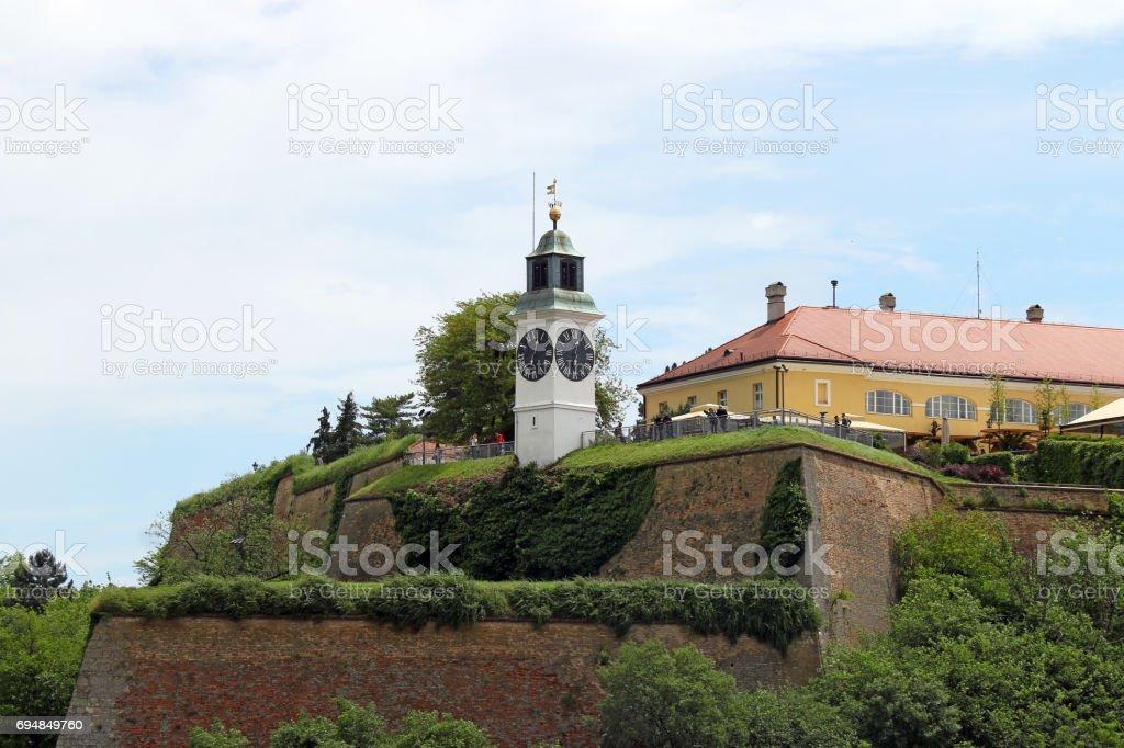 Tower clock on Petrovaradin fortress Serbia Europe stock photo