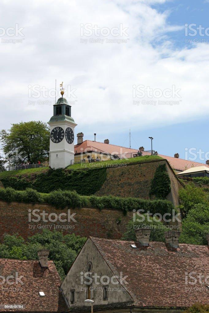 Tower clock Petrovaradin fortress Serbia Europe stock photo