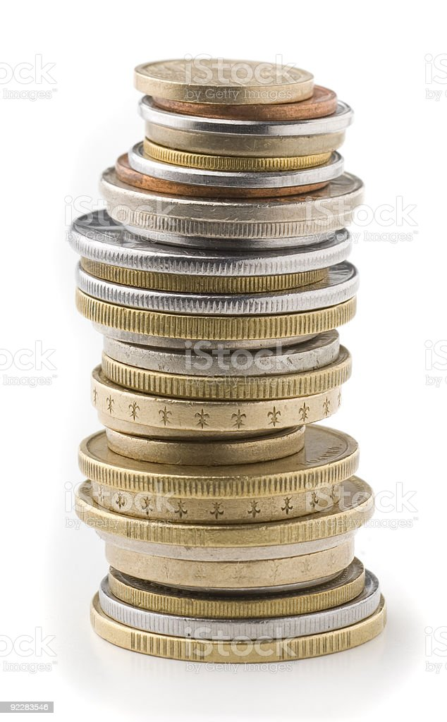 Tower coins stock photo