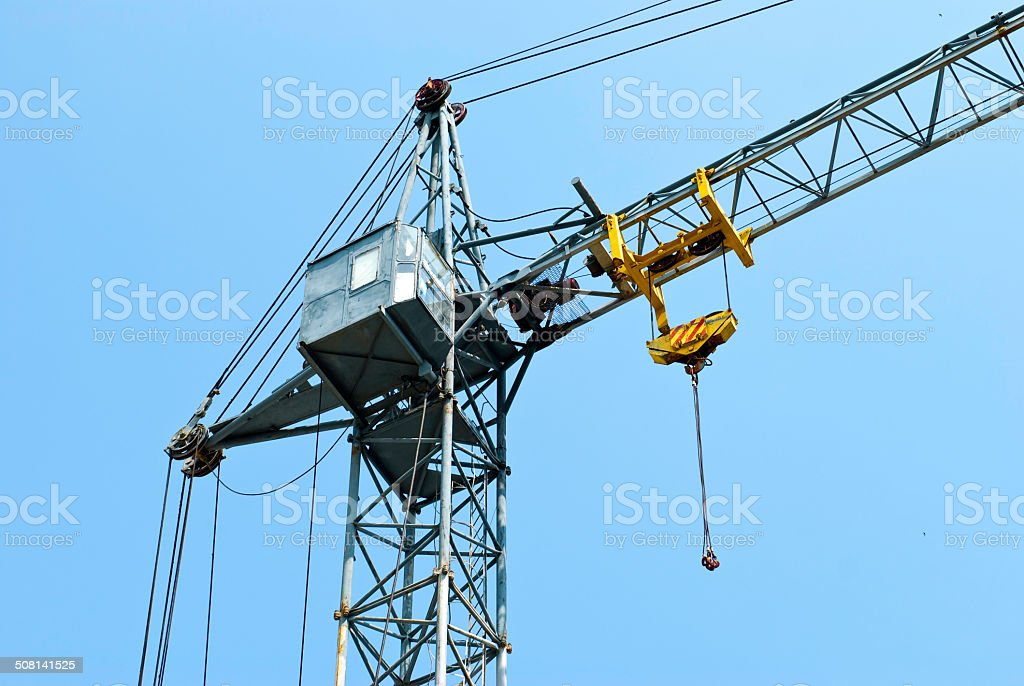 tower crane with a cabin stock photo