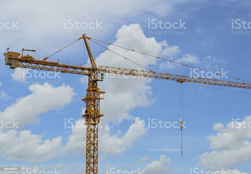 Tower Crane with Blue Sky stock photo