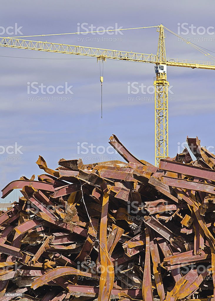 Tower Crane with Steel Beams stock photo
