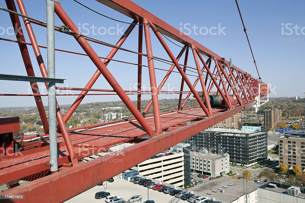 Tower Crane Working High Above City royalty-free stock photo