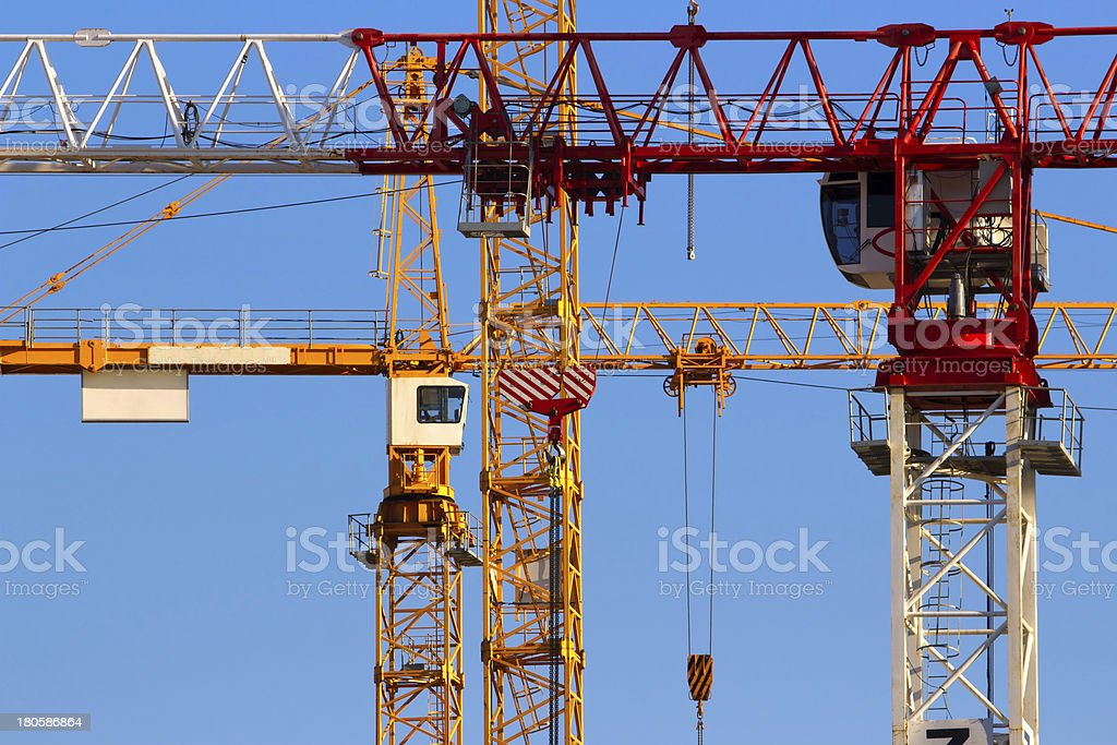 Tower cranes closeup royalty-free stock photo