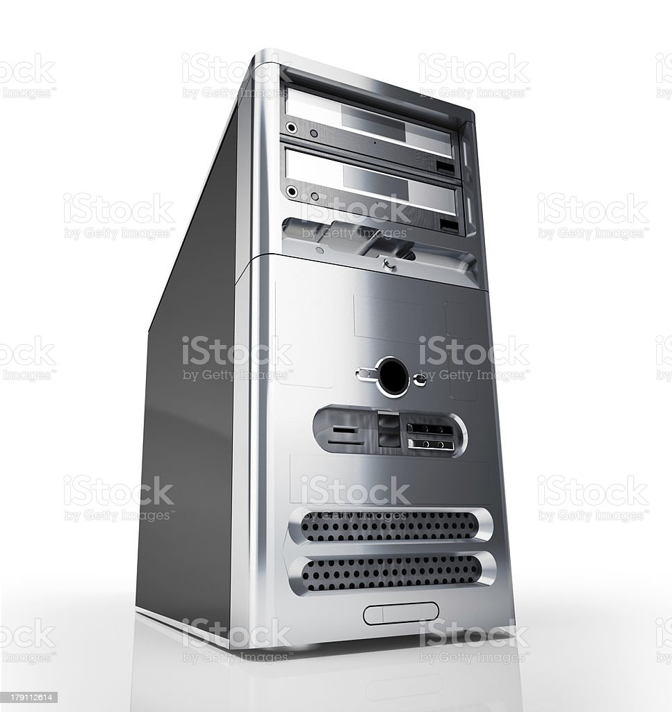 PC tower desktop. Silver at white background. stock photo