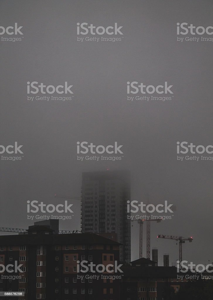 Tower Engulfed in Fog stock photo
