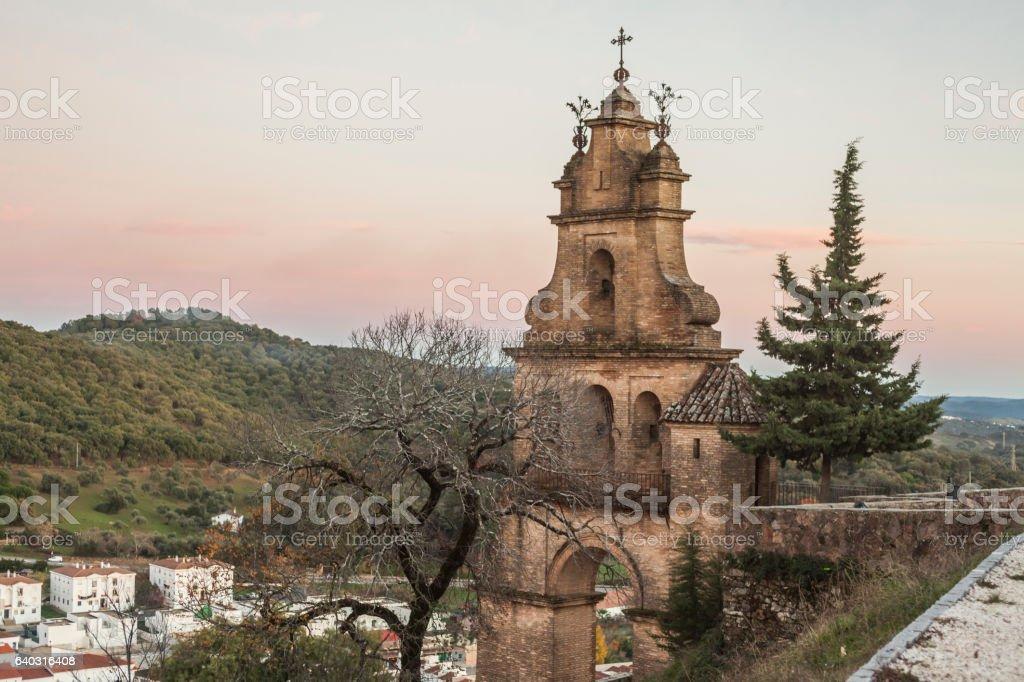 Tower entrance to the stone castle. Aracena. Huelva. Spain stock photo