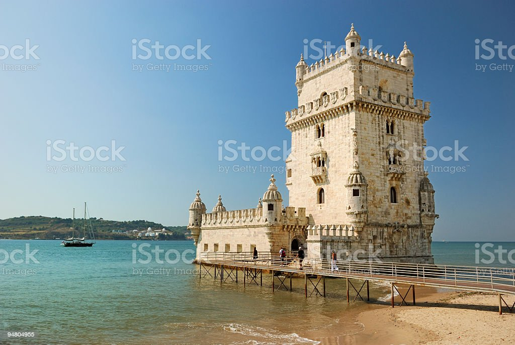 A tower erected near the beach in Lisbon stock photo