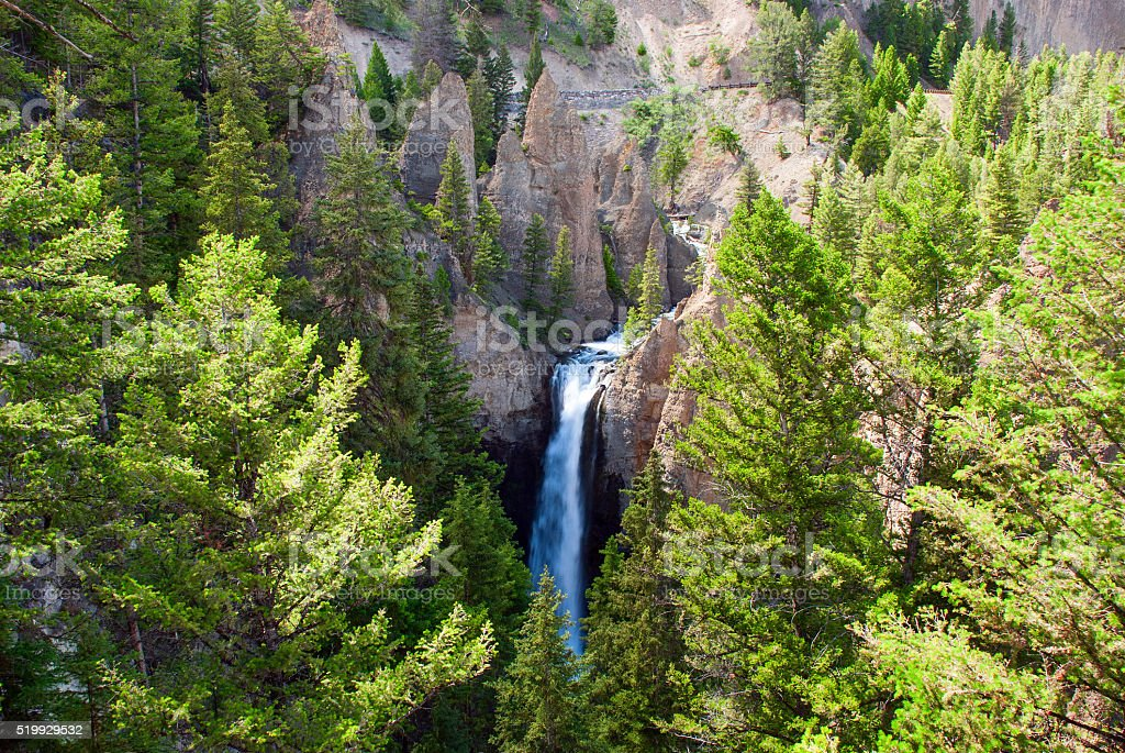 Tower Falls in Yellowstone National Park, Wyoming, USA stock photo