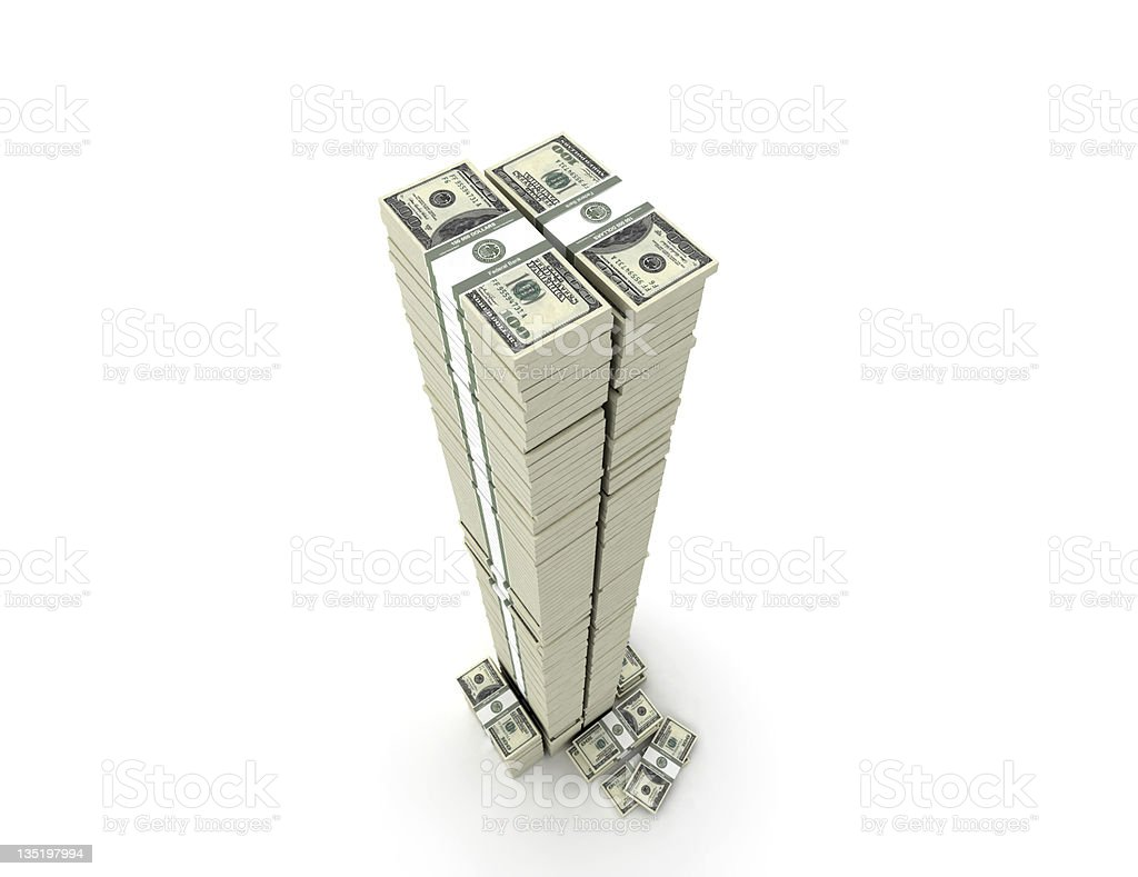Tower from money stacks stock photo