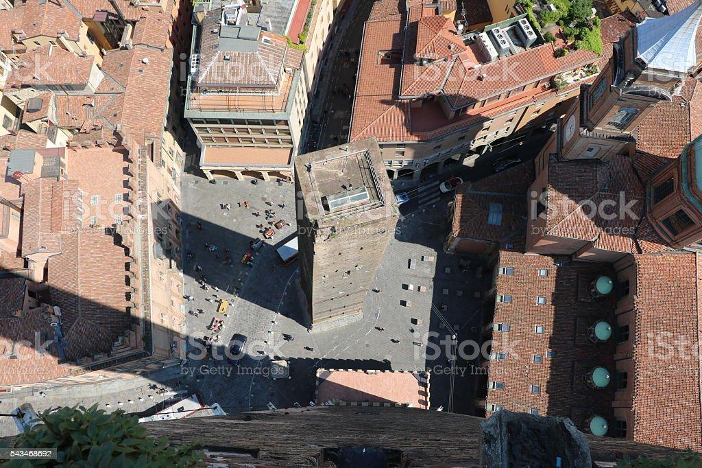 Tower Garisenda Piazza Porta Ravegnana view from Tower Asinelli, Bologna stock photo