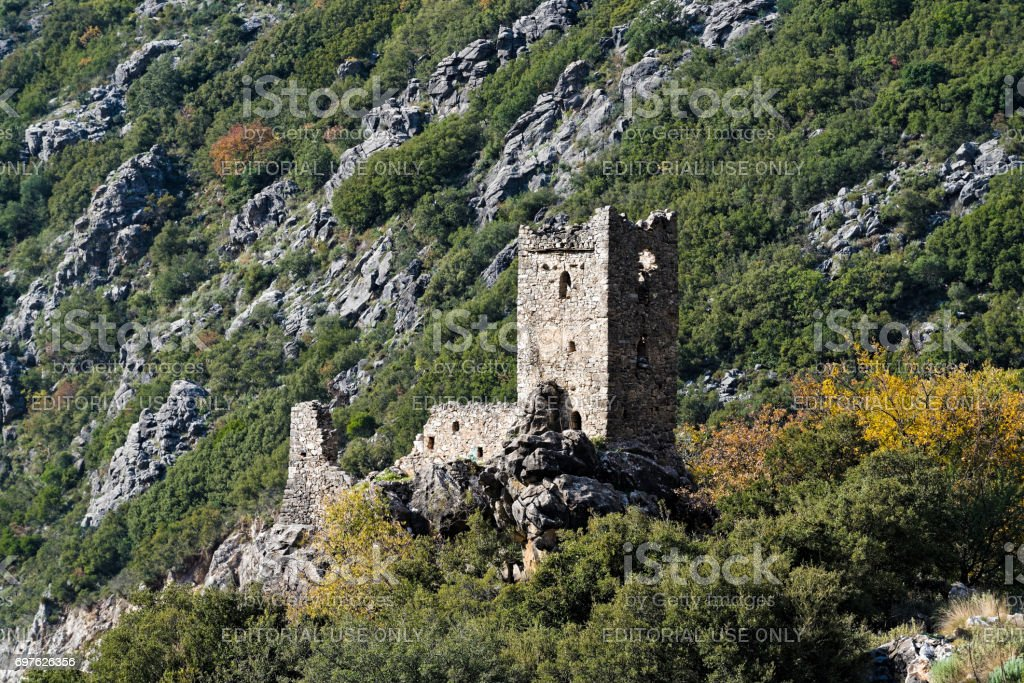Tower house in Greece stock photo