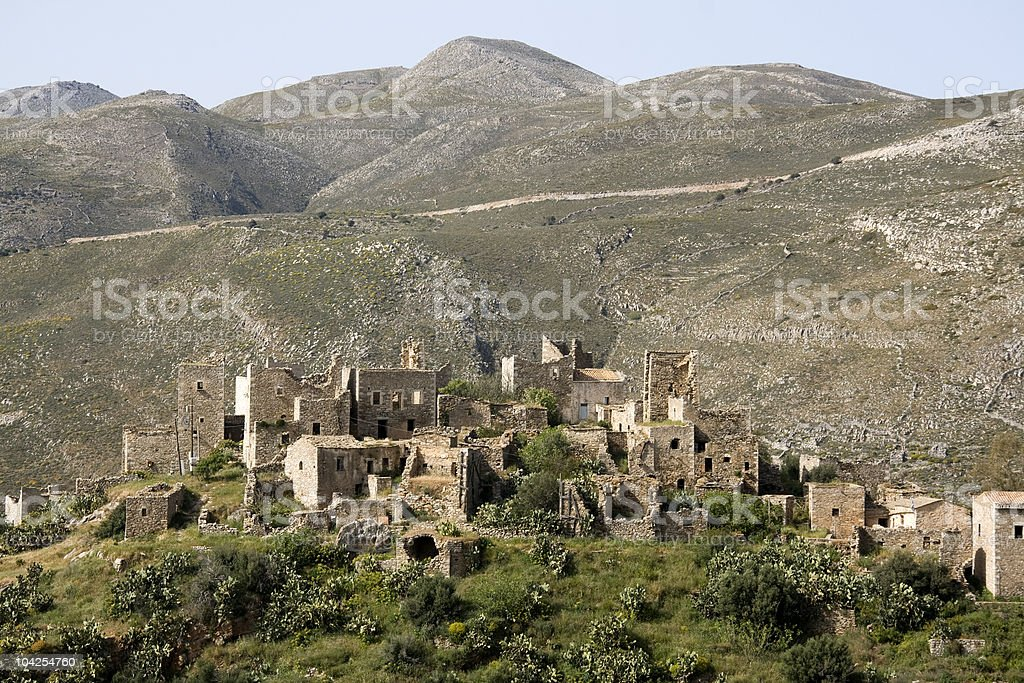 Tower houses in a small village on the Mani Peninsula stock photo