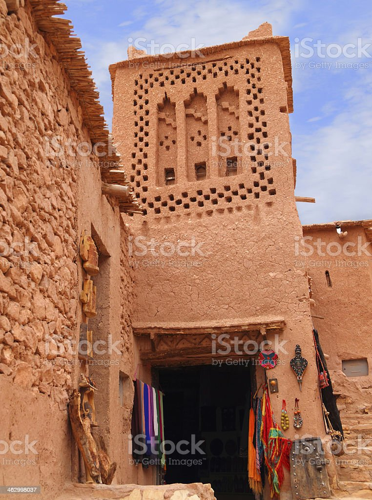 Tower in Ait Ben Haddou Kasbah, Morocco. stock photo