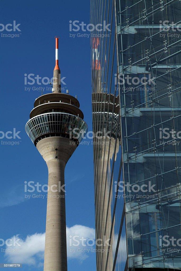 TV Tower in Dusseldorf, Rheinturm, Stadttor stock photo