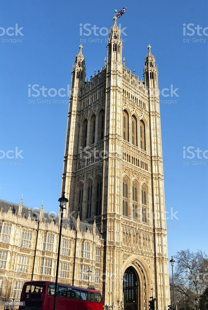 Tower in the building of British Parliament royalty-free stock photo