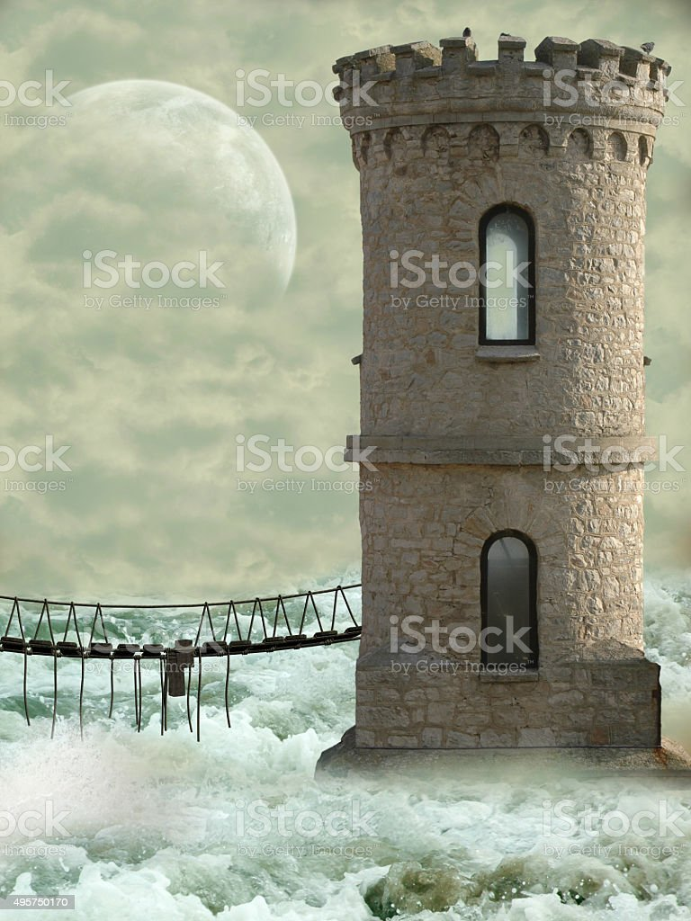 tower in the ocean stock photo