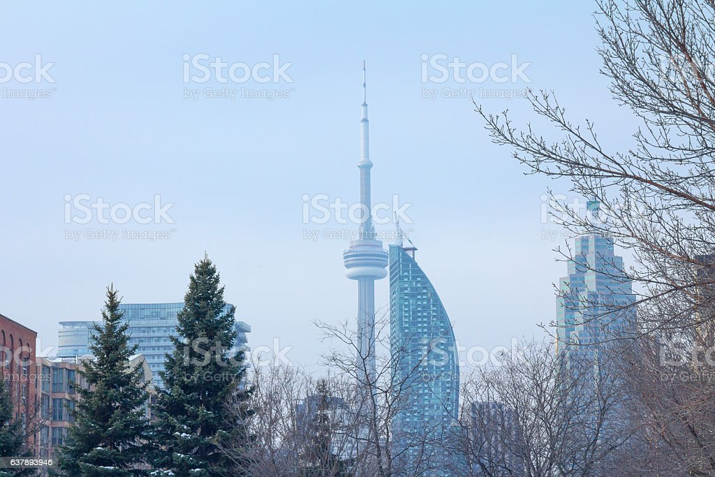 CN tower in winter seen in Toronto, Ontario, Canada stock photo