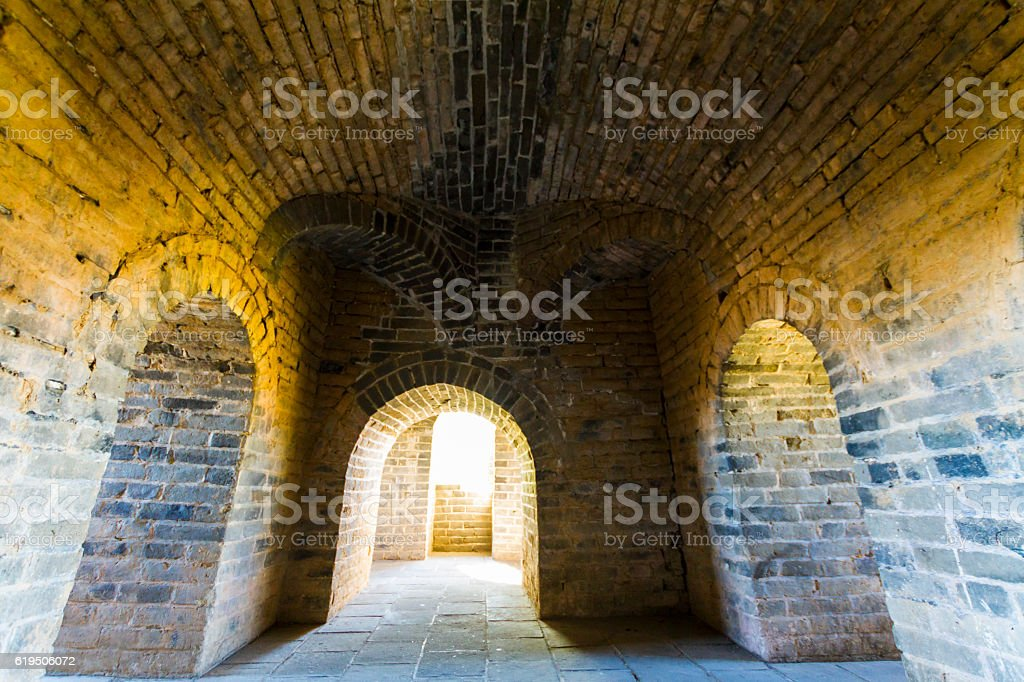 Tower interior at the Great Wall stock photo