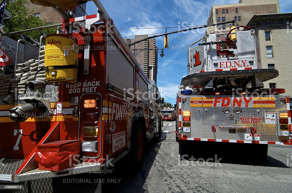 FDNY Tower Ladder 1, Tribeca, Lower Manhattan, New York City royalty-free stock photo