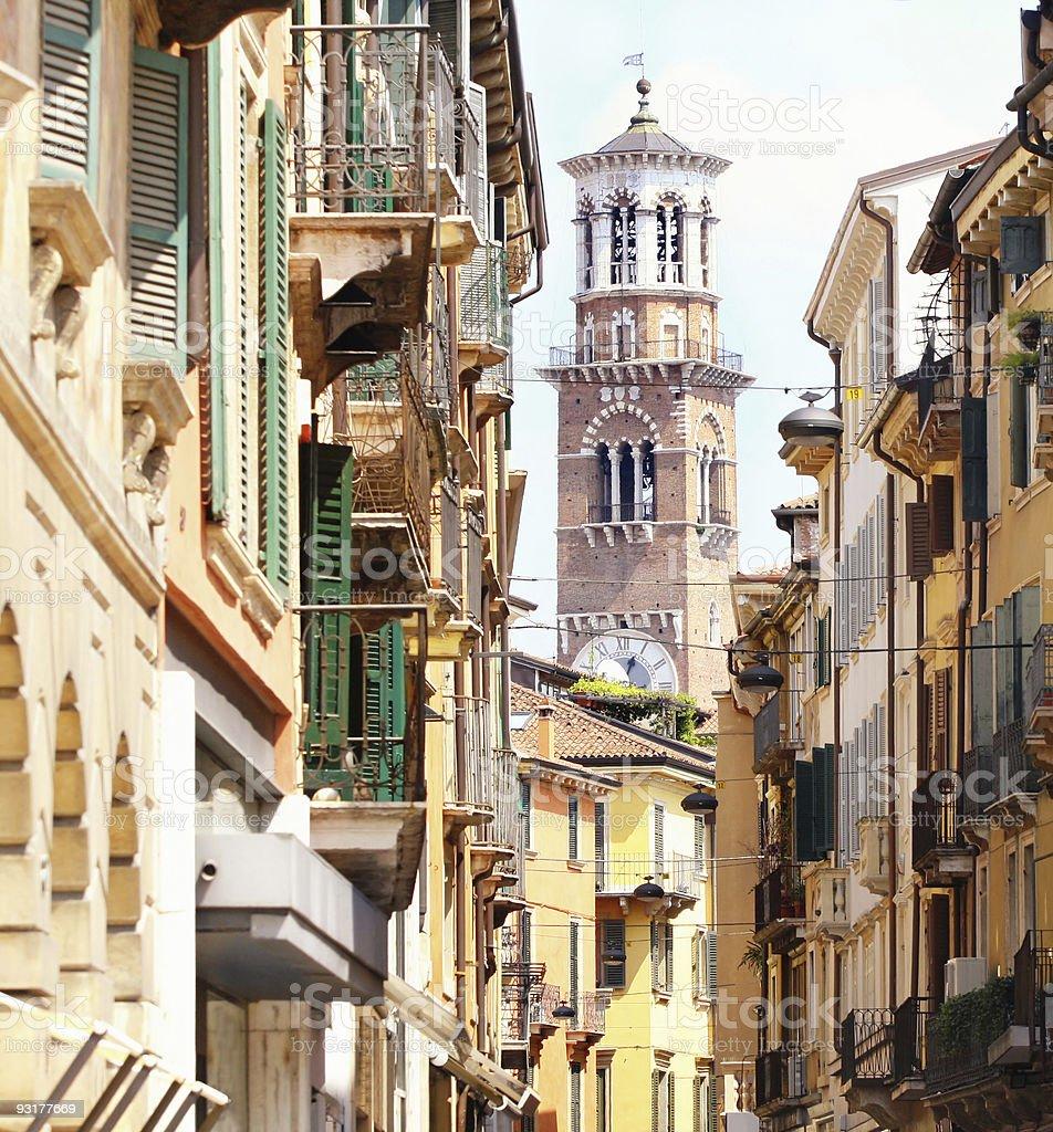 Tower Lamberti in city Verona, Italy stock photo