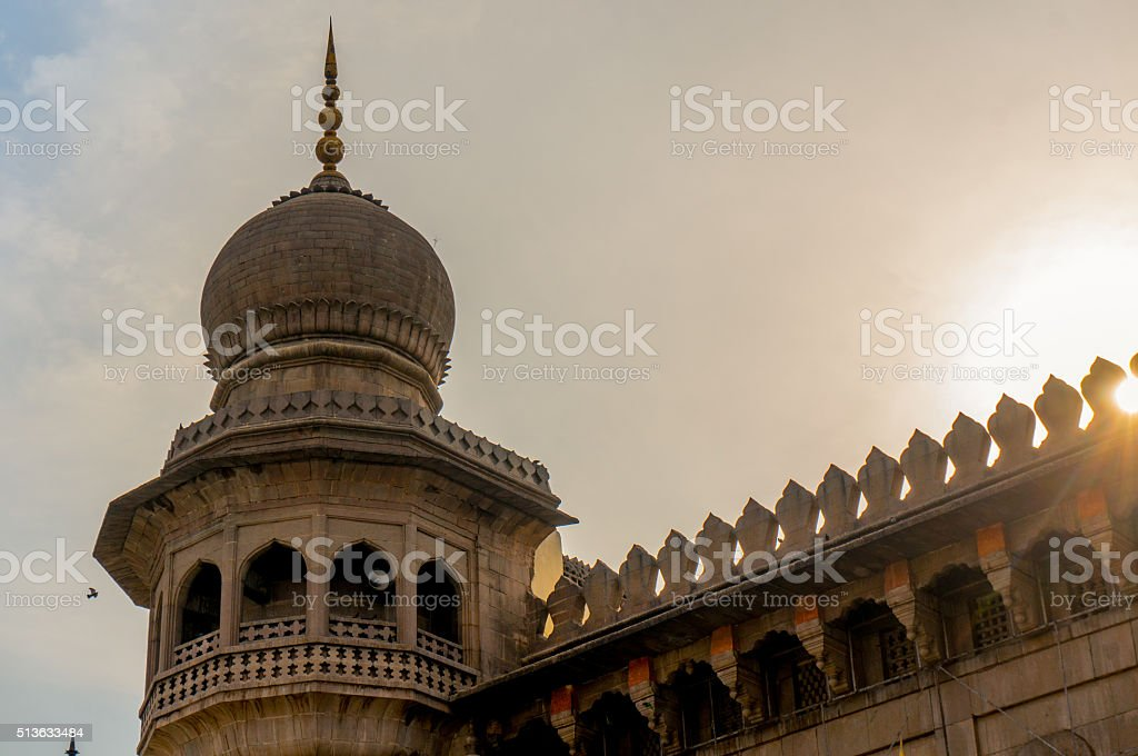 tower minar of a mosque in hyderabad stock photo