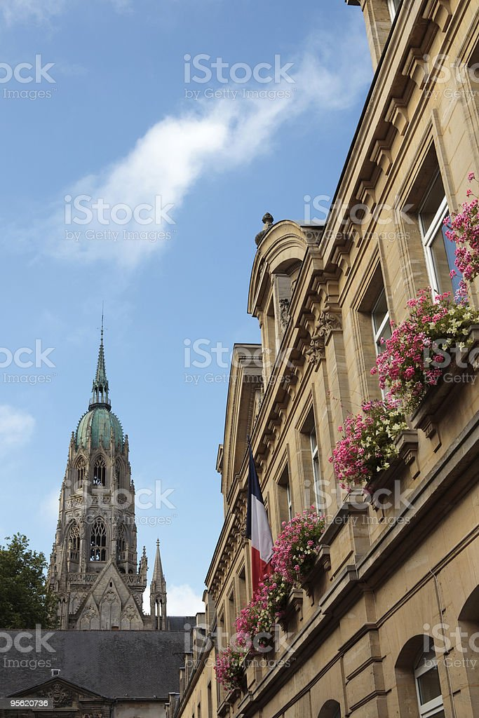 tower of Bayeux' Notre Dame Cathedral stock photo