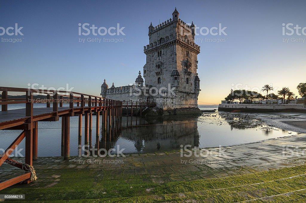 Tower of Belem on sunset, Lisbon, Portugal stock photo
