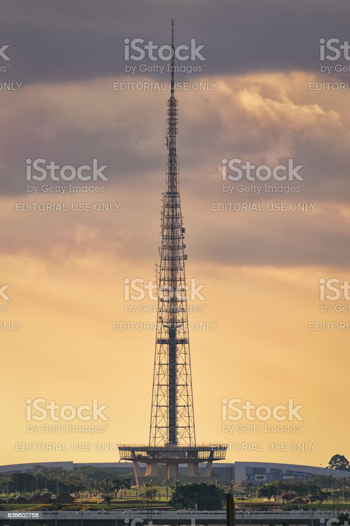 TV tower of Brasilia during the sunset. stock photo