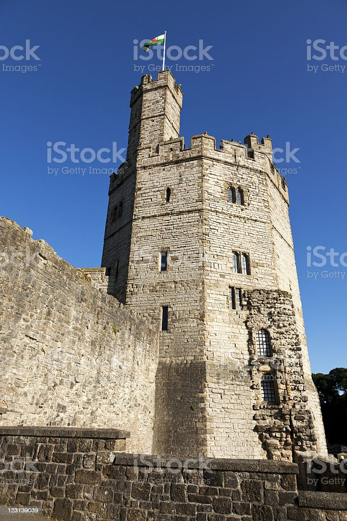 tower of Caernarvon Castle stock photo