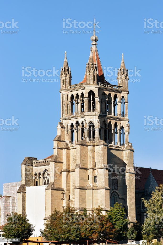 Tower of Cathedral of Notre Dame in Lausanne stock photo