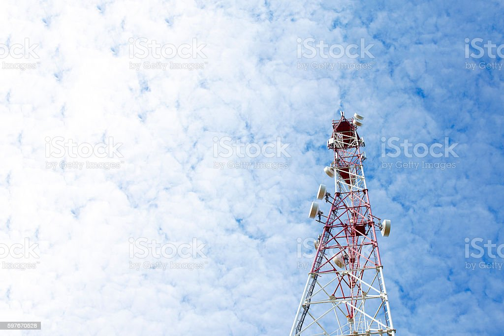 tower of cellular communication stock photo