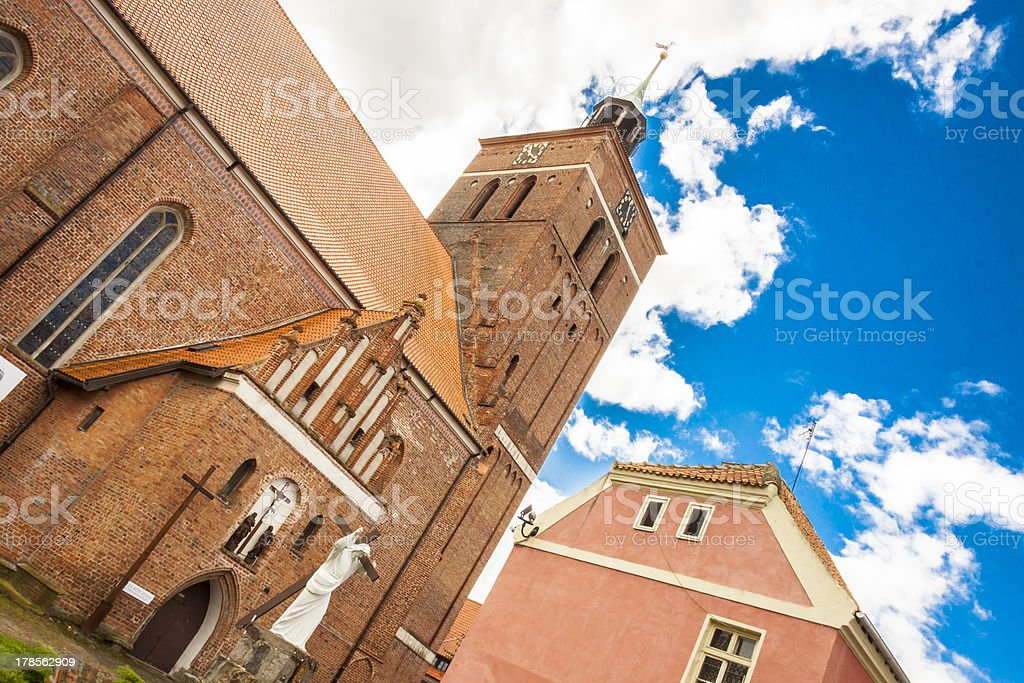 Tower of Church in Reszel - Poland. stock photo