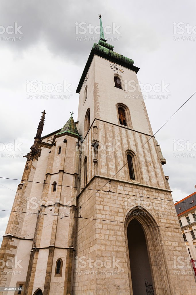 tower of Church of St Jacob (St James) in Brno stock photo