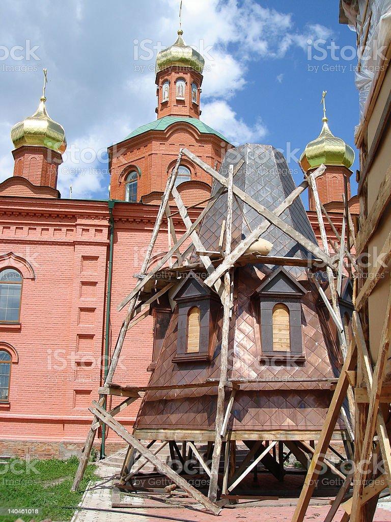 Torre de Igreja Em construção foto de stock royalty-free