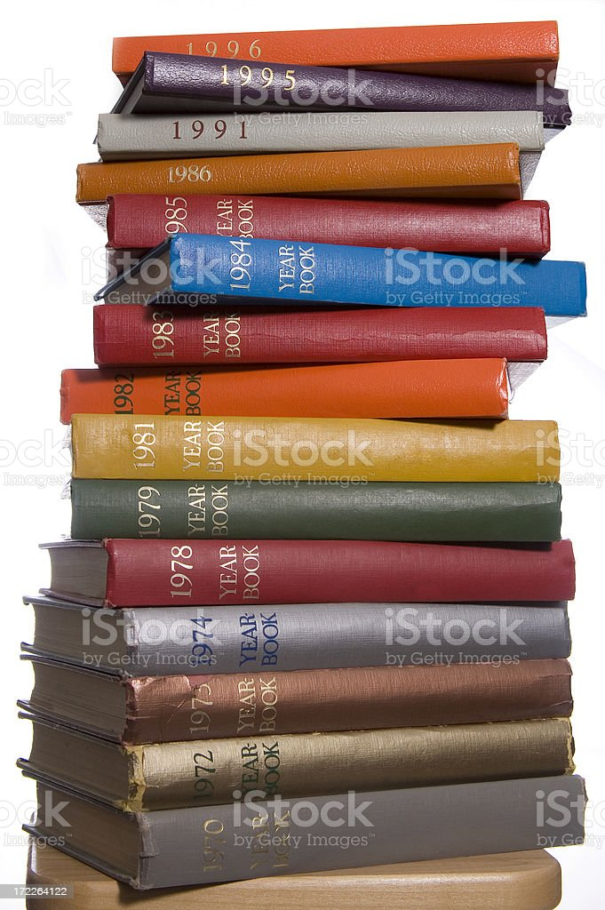 tower of colorful yearbooks royalty-free stock photo